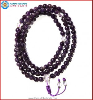 Amethyst Mala with Crystal Guru Bead