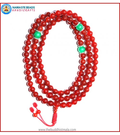 Carnelian Mala with Green Jade Spacer Beads