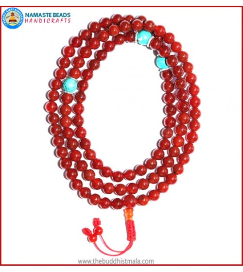 Carnelian Mala with Turquoise Spacer Beads
