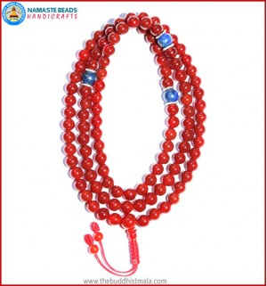 Carnelian Mala with Lapis Lazuli Spacer Beads