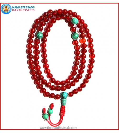 Carnelian Mala with Turquoise Guru Bead