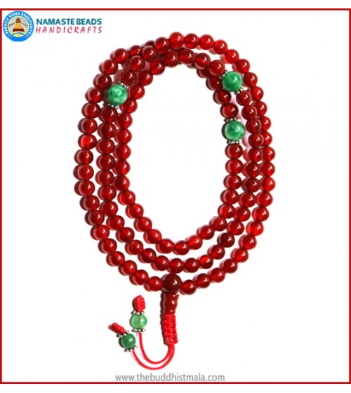 Carnelian Mala with Green Jade