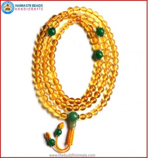 Citrine Mala with Green Jade Spacer Beads