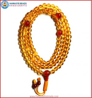 Citrine Mala with Carnelian Guru Bead