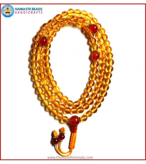 Citrine Mala with Carnelian Guru Bead