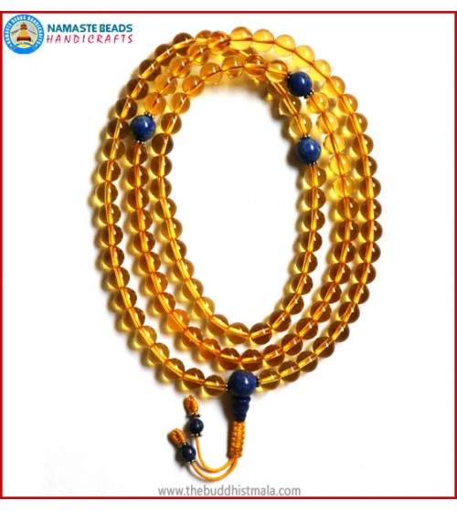 Citrine Mala with Lapis Lazuli Spacer Beads