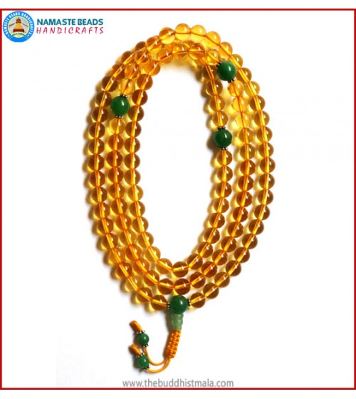 Citrine Mala with Green Jade Guru Bead