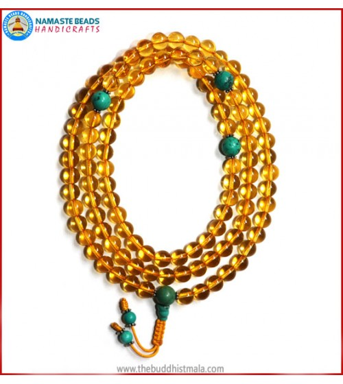 Citrine Mala with Turquoise Spacer Beads
