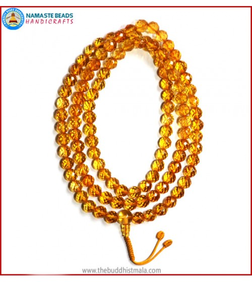 Diamond Cut Citrine Mala