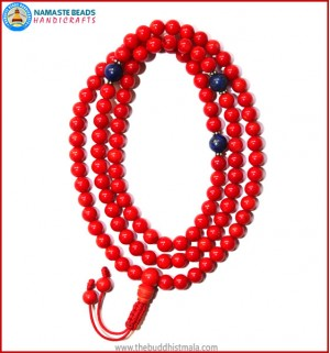 Red Coral Mala with Lapis Lazuli Spacer Beads