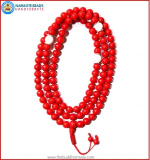 Red Coral Mala with Conch Shell Spacer Beads