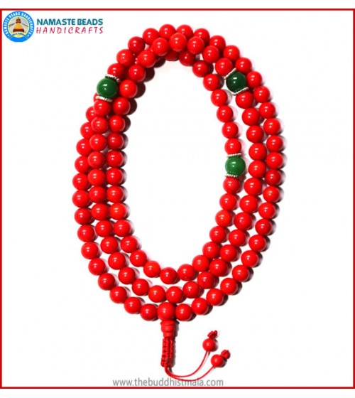 Red Coral Mala with Green Jade Spacer Beads