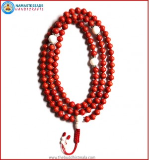 Carved Coral Mala with Conch Shell Guru Bead