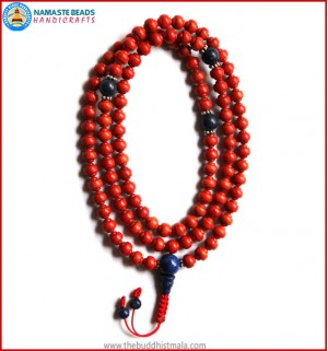 Carved Coral Mala with Lapis Lazuli Guru Bead
