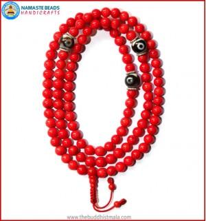 Red Coral Mala with Dzi Beads