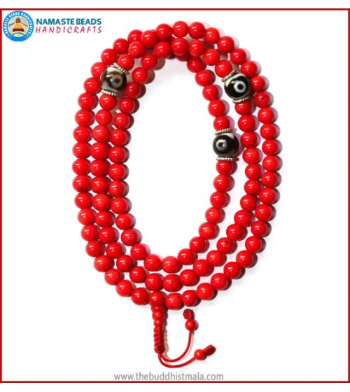 Red Coral Mala with Dzi Beads