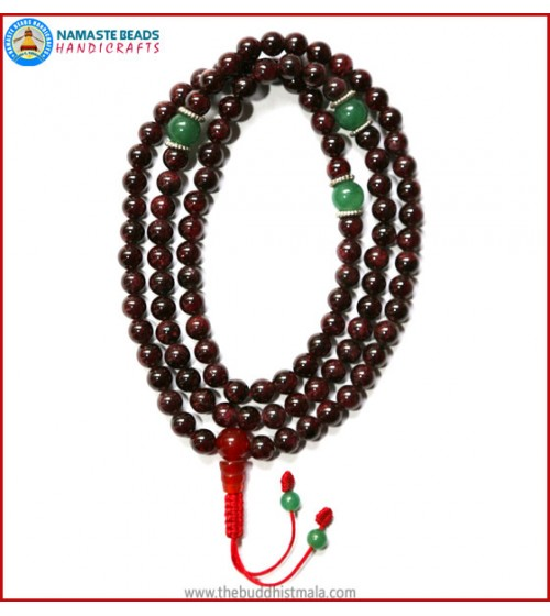 Garnet Stone Mala with Green Jade Spacer Beads
