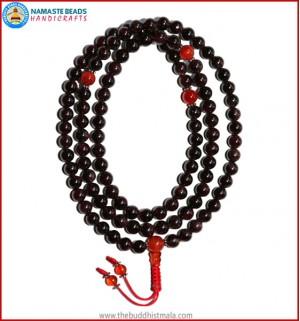 Garnet Stone Mala with Carnelian Spacer Beads
