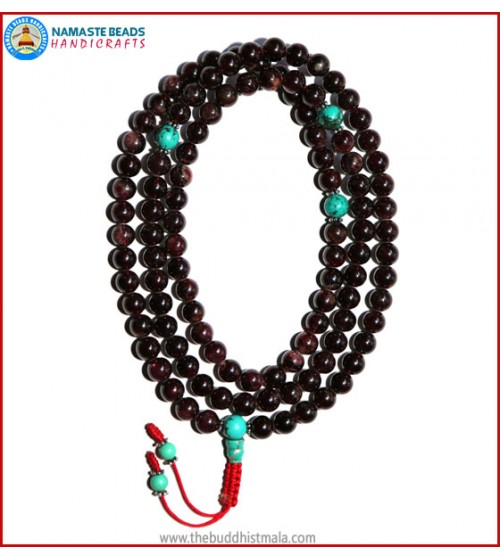 Garnet Stone Mala with Turquoise Spacer Beads