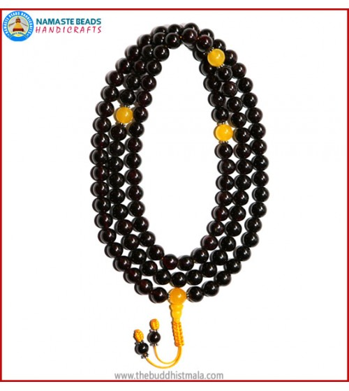 Garnet Stone Mala with Yellow Jade Spacer Beads