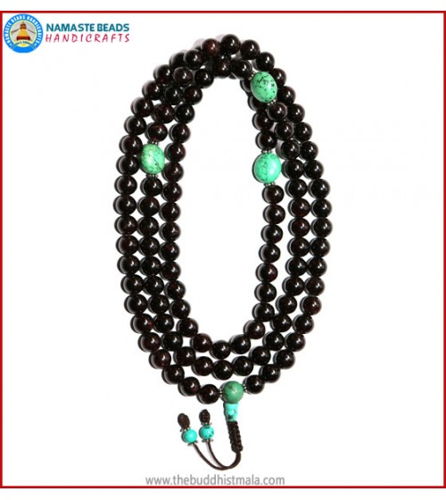 Garnet Stone Mala with Flat Turquoise Spacer Beads