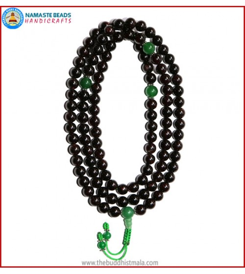 Garnet Stone Mala with Green Jade Guru Beads