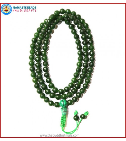 Tibetan Dark Jade Mala with Malachite Guru Bead