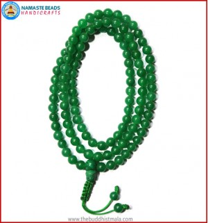 Green Jade Mala with Malachite Guru Beads