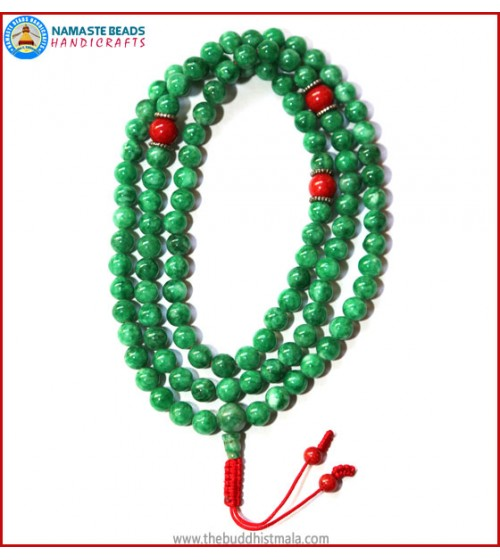 Taiwanese Jade Stone Mala with Coral Spacer Beads
