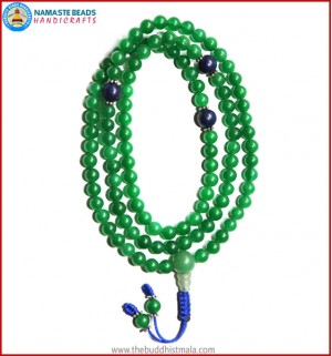 Green Jade Mala with Lapis Lazuli Beads