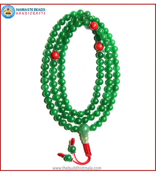 Green Jade Mala with Coral Beads