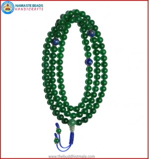 Green Jade Mala with Lapis Lazuli Spacer Beads