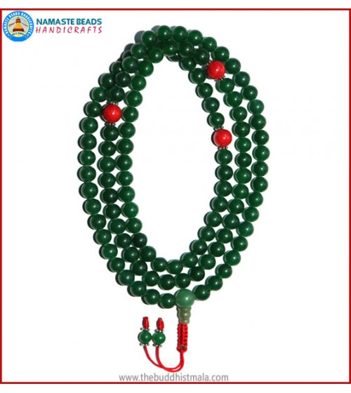 Green Jade Mala with Coral Spacer Beads