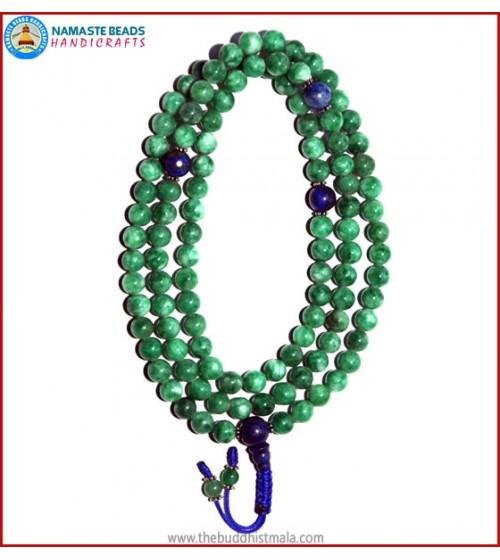 Taiwanese Jade Stone Mala with Lapis Lazuli Guru Bead