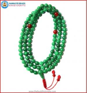 Taiwanese Jade Stone Mala with Carnelian Spacer Beads