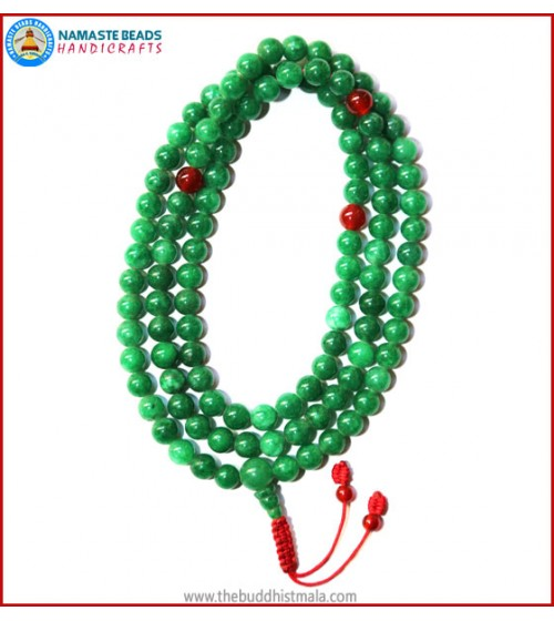 Taiwanese Jade Stone Mala with Carnelian Spacer Beads