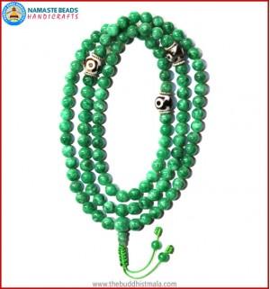 Taiwanese Jade Stone Mala with Dzi Beads