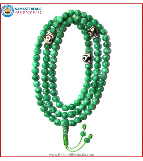 Taiwanese Jade Stone Mala with Dzi Beads