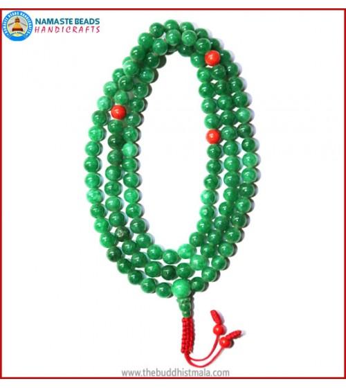Taiwanese Jade Stone Mala with Coral Beads