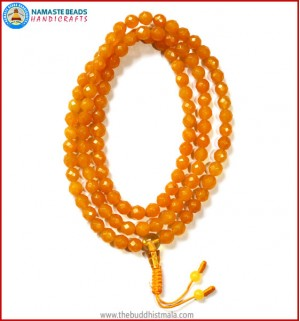 Diamond Cut Honey Yellow Jade with Citrine Guru Bead