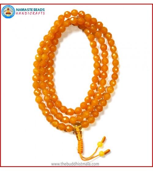Diamond Cut Honey Yellow Jade with Citrine Guru Bead