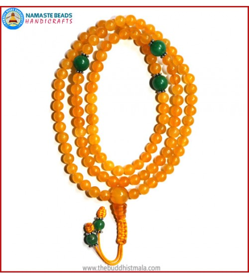 Honey Yellow Jade Stone Mala with Green Jade Spacer Beads