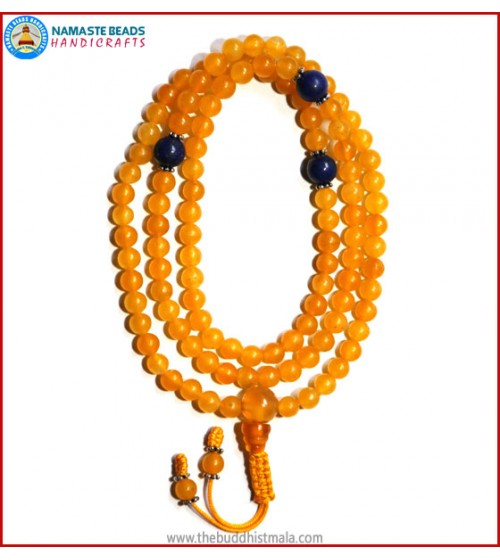 Honey Yellow Jade Stone Mala with Lapis Lazuli Spacer Beads