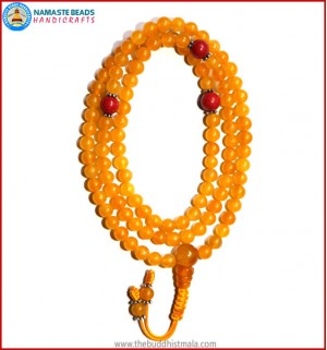 Honey Yellow Jade Stone Mala with Coral Spacer Beads
