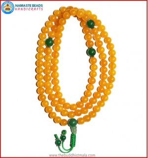 Honey Yellow Jade Stone Mala with Green Jade Guru Bead