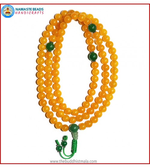 Honey Yellow Jade Stone Mala with Green Jade Guru Bead