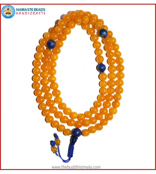 Honey Yellow Jade Stone Mala with Lapis Lazuli Guru Bead