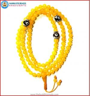 Yellow Jade Stone Mala with Dzi Beads