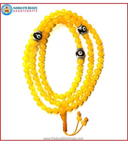 Yellow Jade Stone Mala with Dzi Beads