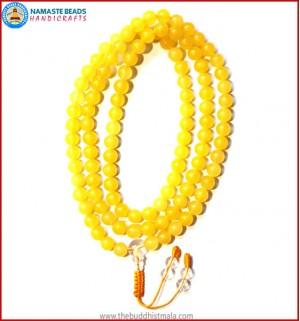 Yellow Jade Stone Mala with Crystal Guru Bead